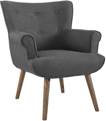 Cloud Collection EEI-2941-GRY Armchair with Walnut-Stained Wood Tapered Legs  Dense Foam Padding  Mid-Century Modern Style  Non-Marking Foot Caps and