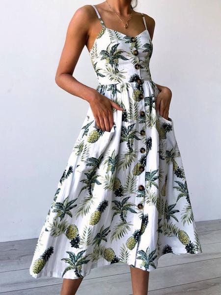 Milanoo Long Summre Dress White Straps Fruit Print Buttons Slip Dress