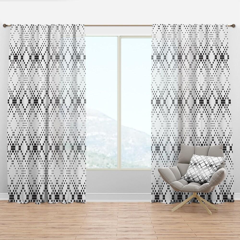 Designart Retro Geometrical Abstract Minimal Pattern IX Mid-Century Modern Curtain Panel (50 in. wide x 120 in. high - 1 Panel)