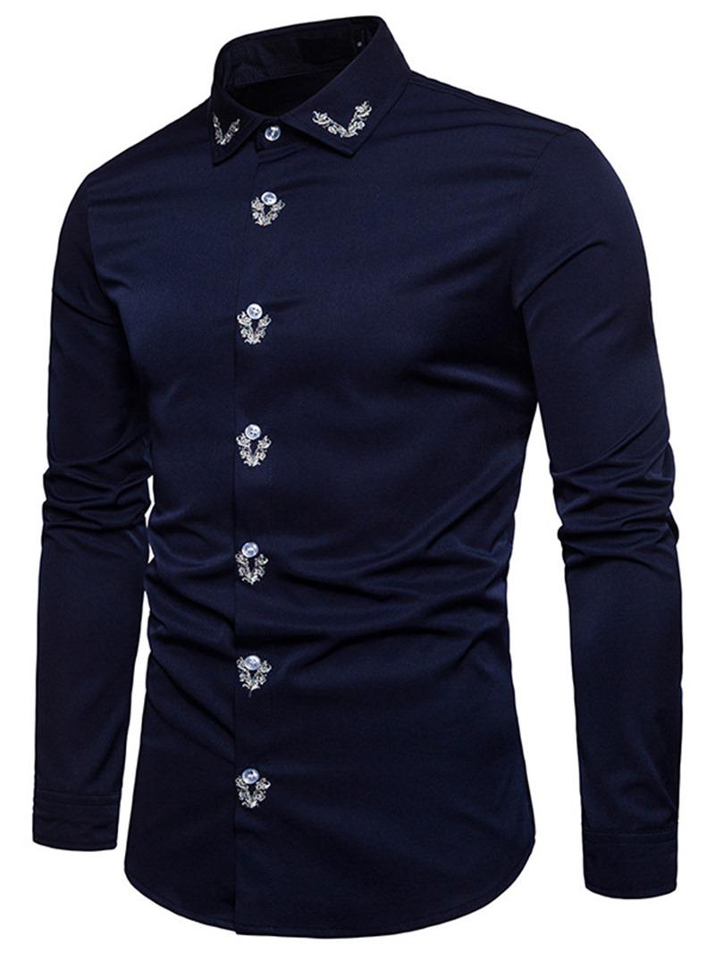 Ericdress Plain Lapel Simple Print Mens Shirt