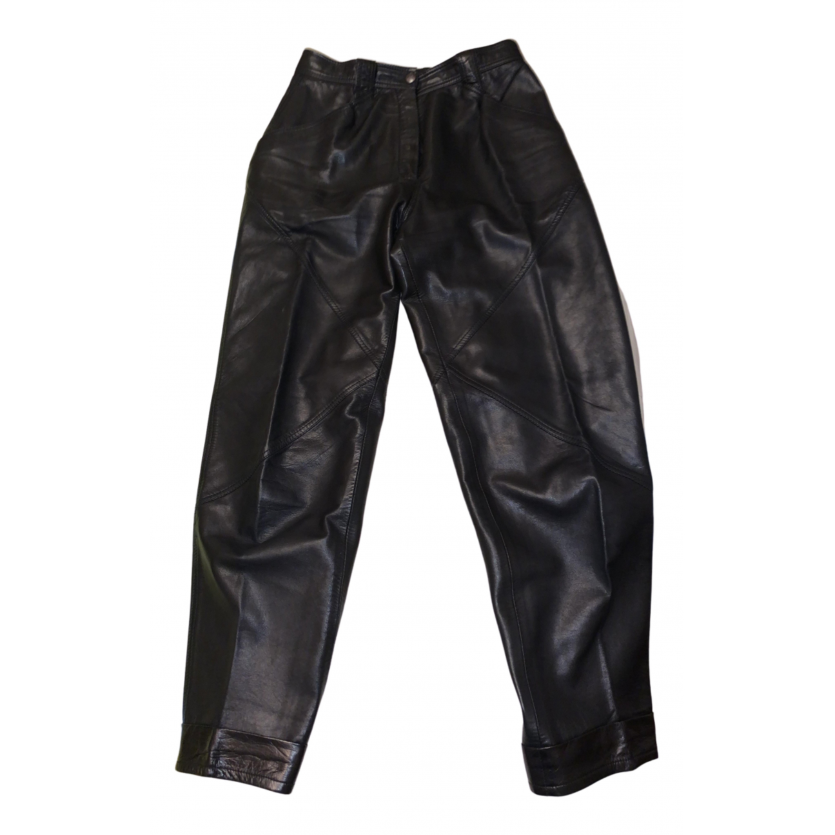 Mac Douglas \N Black Leather Trousers for Women 42 FR