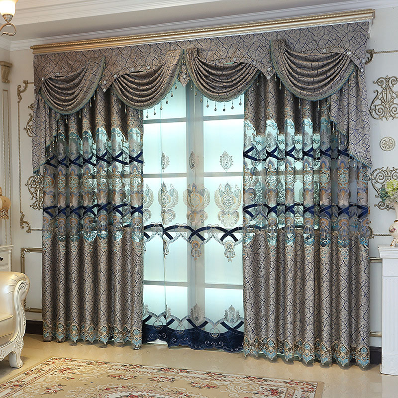 European Embroidered Hollowed-out Blackout Decoration Custom 2 Panels Curtain Drapes for Living Room No Pilling No Fading No off-lining