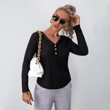 Button Half Placket Waffle Knit Tee