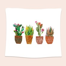 Potted Cactus Print Tapestry