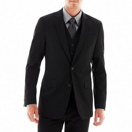 JF J. Ferrar Stretch Gabardine Suit Jacket - Classic Fit, 42 Regular, Black
