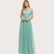 Appliques Embroidery Bodice Mesh Maxi Prom Dress