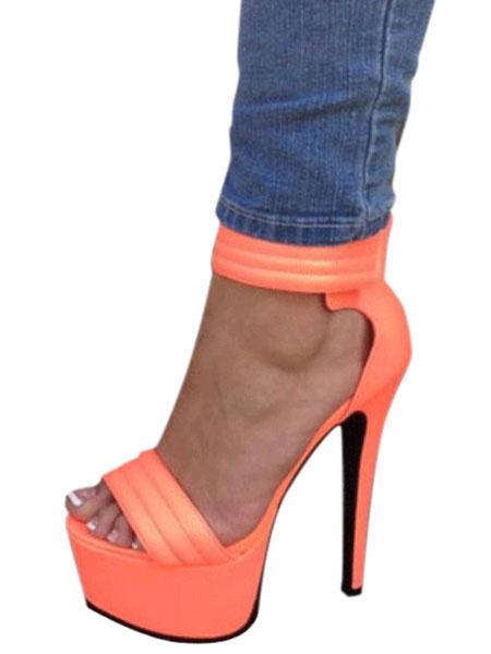 Milanoo Women Sexy Sandals Platform Open Toe Stiletto Heel Ankle Strap Sandal Shoes