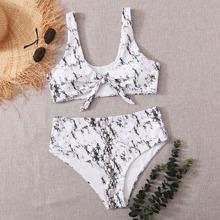 Plus Marble Print Knot Front Bikini Swimsuit