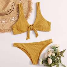 Textured Knot Front Bikini Swimsuit