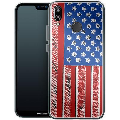 Huawei P20 Lite Silikon Handyhuelle - American Flag Colour von caseable Designs