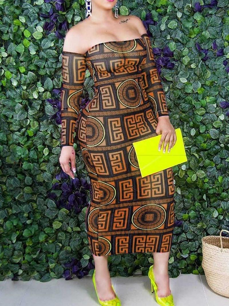 Ericdress Print Nine Points Sleeve Mid-Calf Cold Shoulder Spring Dress