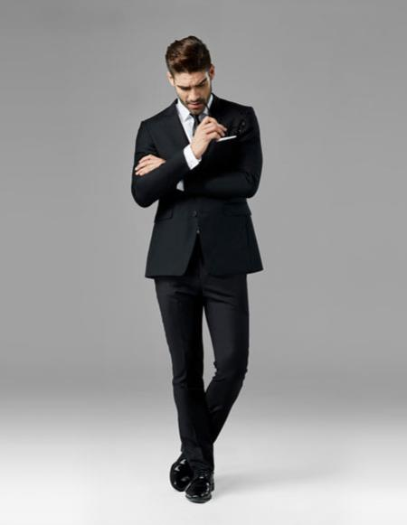 Mens Classic Black best Suit buy one get one suits free Suit