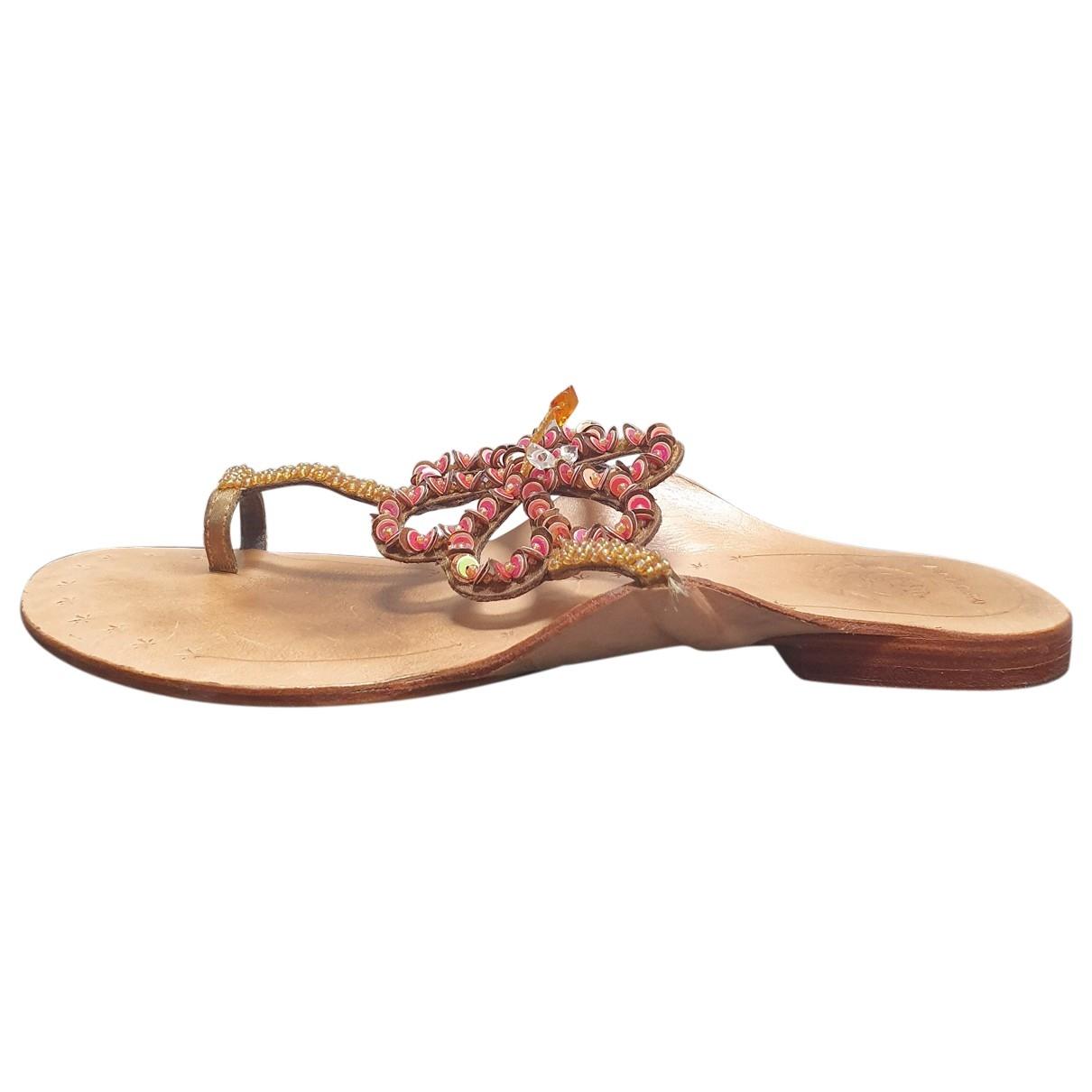 Maliparmi \N Gold Glitter Sandals for Women 37 EU