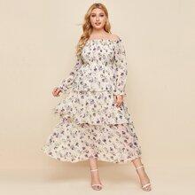 Chiffon schulterfreies Kleid mit Blumen Muster und Rueschen