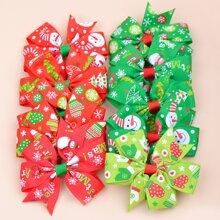10 Stuecke Weihnachten Clip mit Schleife Dekor