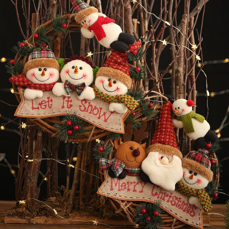 Father Christmas Snow Man Rattan Garlands Hang Decorations Creative Christmas Gifts