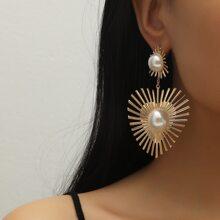 Faux Pearl Decor Heart Charm Drop Earrings