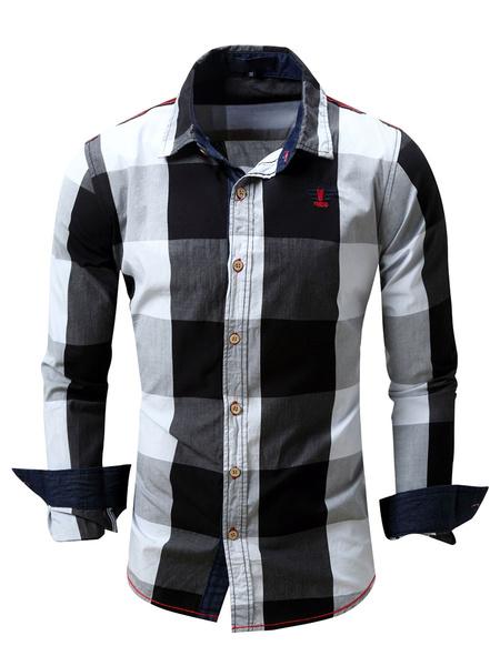 Milanoo Men\'s Regular Fit 100% Cotton Plaid Shirt