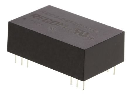 Recom REC3 3W Isolated DC-DC Converter Through Hole, Voltage in 4.25 → 5.75 V dc, Voltage out ±15V dc