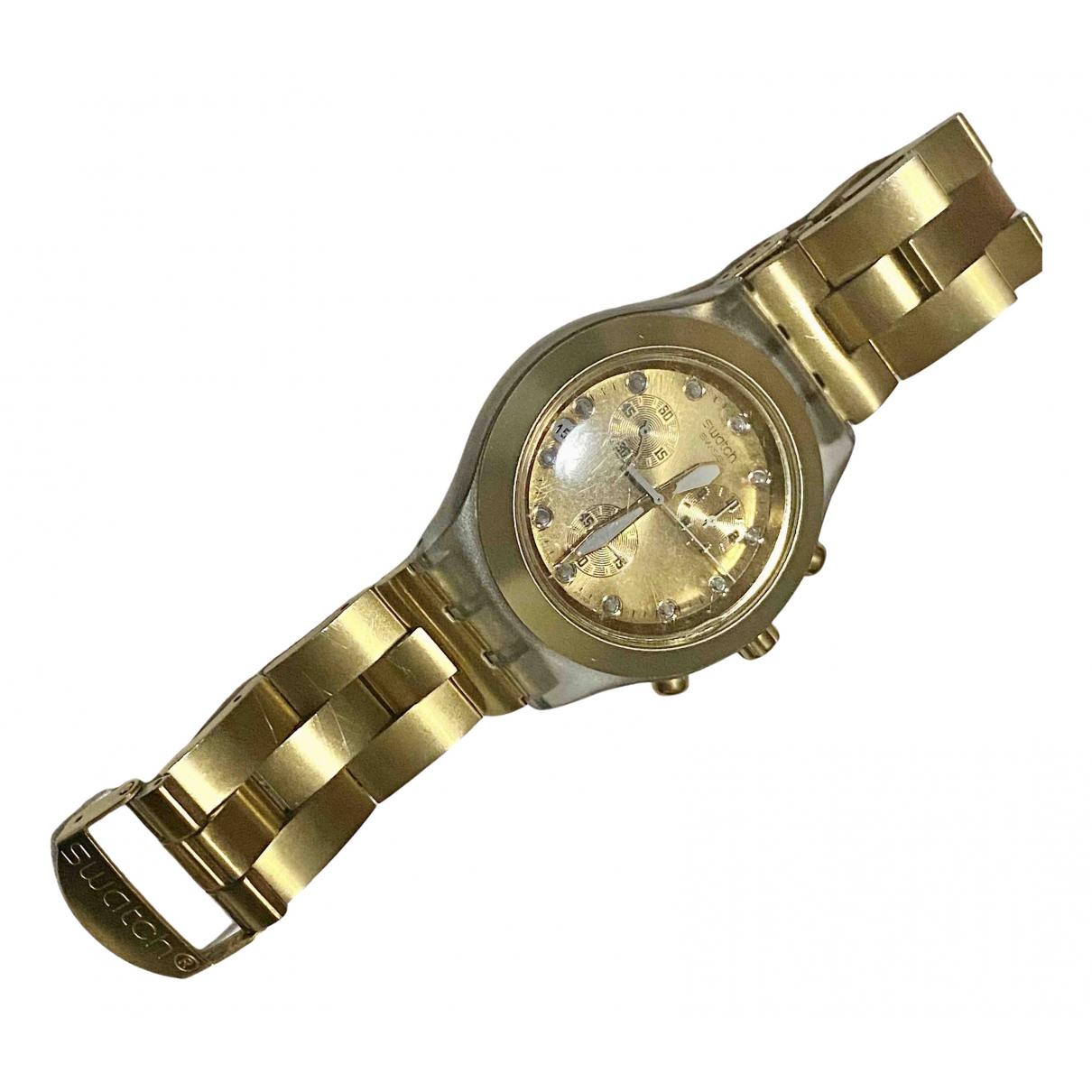Swatch - Montre   pour femme en acier - dore
