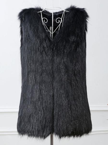 Milanoo Abrigo sin mangas con cuello en V negro de piel sintetica para mujer
