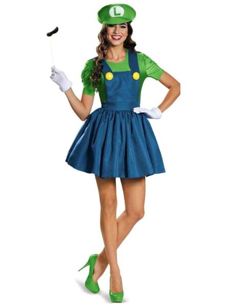 Milanoo Disfraz Halloween Mansion 3 de Super Mario Bros Luigi Cosplay de Halloween Vestido de dos tonos con delantal con sombrero Disfraz de Waluigi C