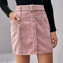 Button Front Flap Pocket Buckle Belted Corduroy Skirt