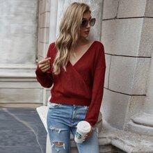 Surplice Front Drop Shoulder Sweater