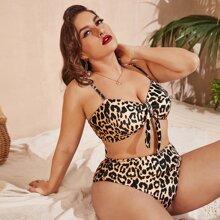 Plus Leopard Bandeau Tie Side Bikini Swimsuit