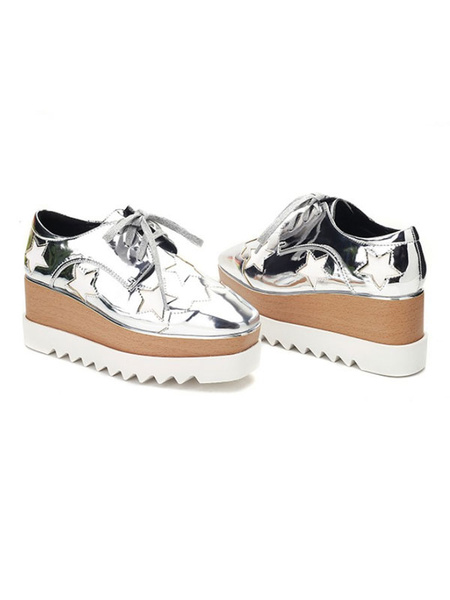 Milanoo Women Platform Sneakers Gold Square Toe Star Pattern Lace Up Casual Shoes