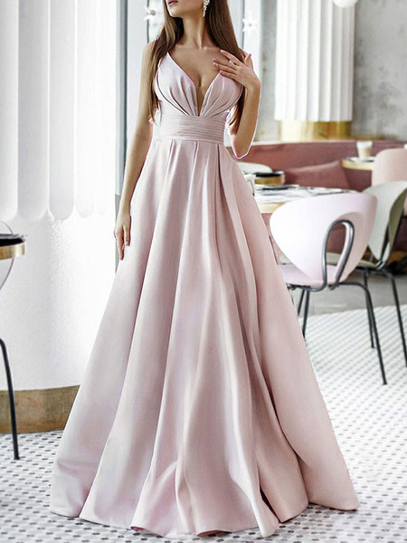 Milanoo Prom Dress A Line V Neck Satin Fabric Sleeveless Floor Length Pleated Pageant Dresses