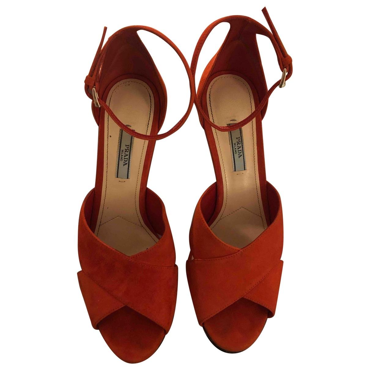 Prada - Sandales   pour femme en suede - orange