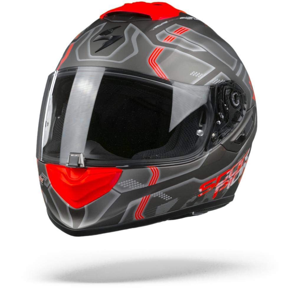 Scorpion EXO-1400 Air Spatium Mate Casco Integral Plateado Rojo  M