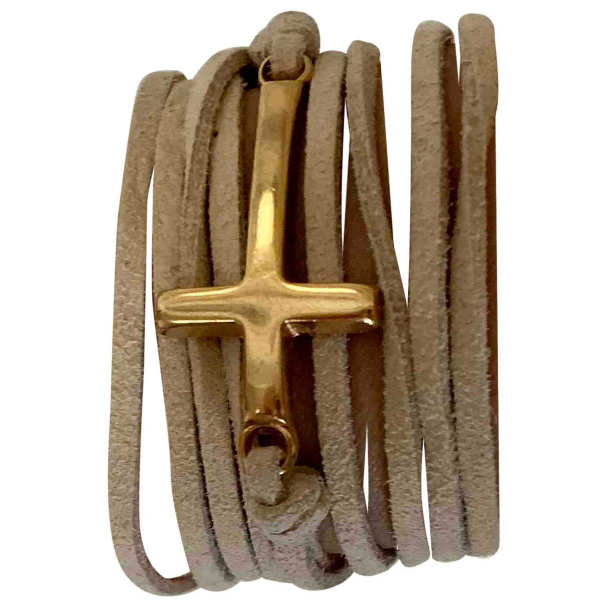 Non Signe / Unsigned Motifs Religieux Armband in  Beige Vergoldet