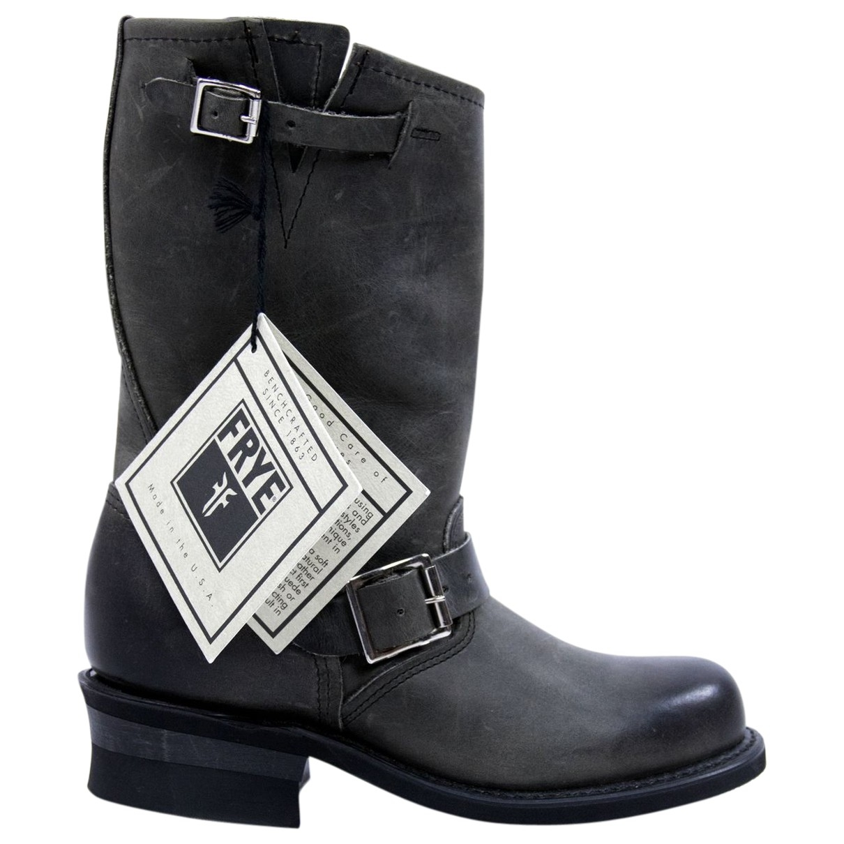 Frye \N Stiefel in  Grau Leder