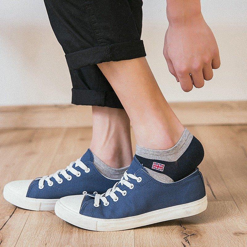 Men Sweat Non-slip Wear-resistant Short Tube Breathable Wicking Sports Print Boat Socks