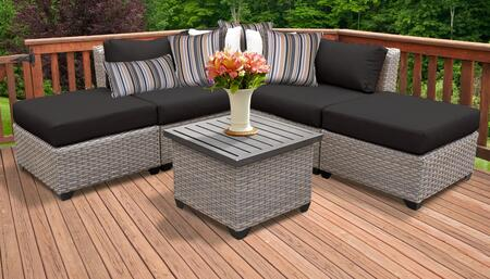 Florence Collection FLORENCE-06f-BLACK 6-Piece Patio Set 06f with 1 Corner Chair   2 Armless Chair   2 Ottoman   1 End Table - Grey and Black