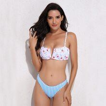Bikini Badeanzug mit Stern & Streifen Muster und V Ausschnitt