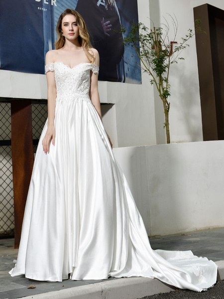 Milanoo Simple Wedding Dress A Line Off The Shoulder Short Sleeves Applique Bridal Dresses With Train