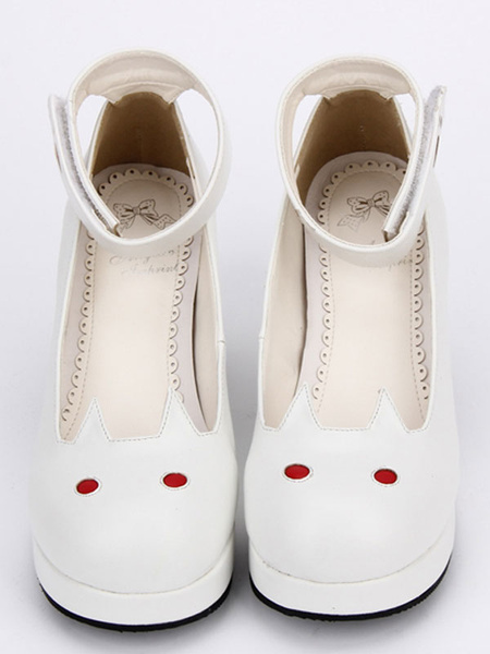 Milanoo White Lolita Shoes Round Toe Bunny Pattern Low Top Cone Heel Lolita Shoes
