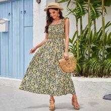 Ruffle Trim Shirred Allover Floral Flowy Dress