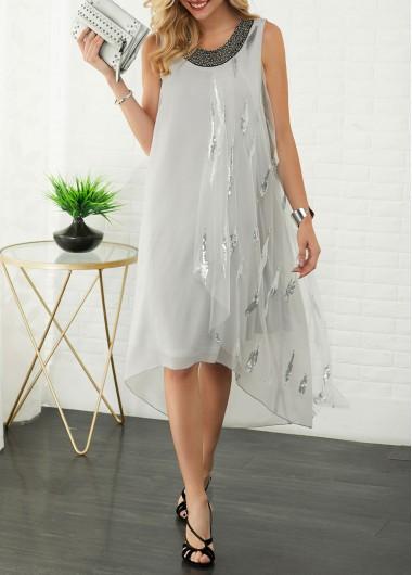 Women'S Light Grey Chiffon Straight Holiday Dress Sleeveless Asymmetric Hem Midi Round Neck Sequin Embellished Dress By Rosewe - XL
