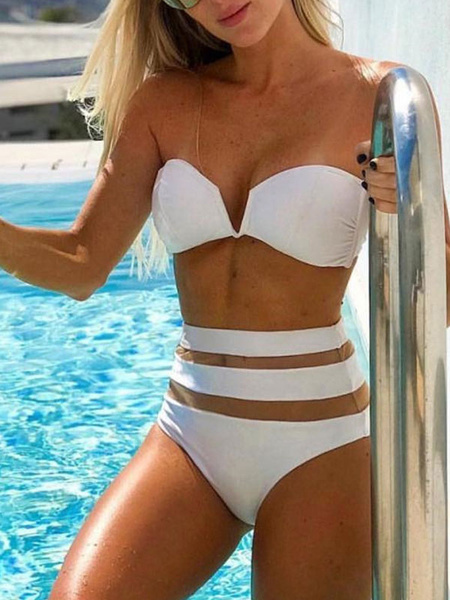 Milanoo Women Bikini Swimsuit White Strapless Summer Sexy Bathing Suits