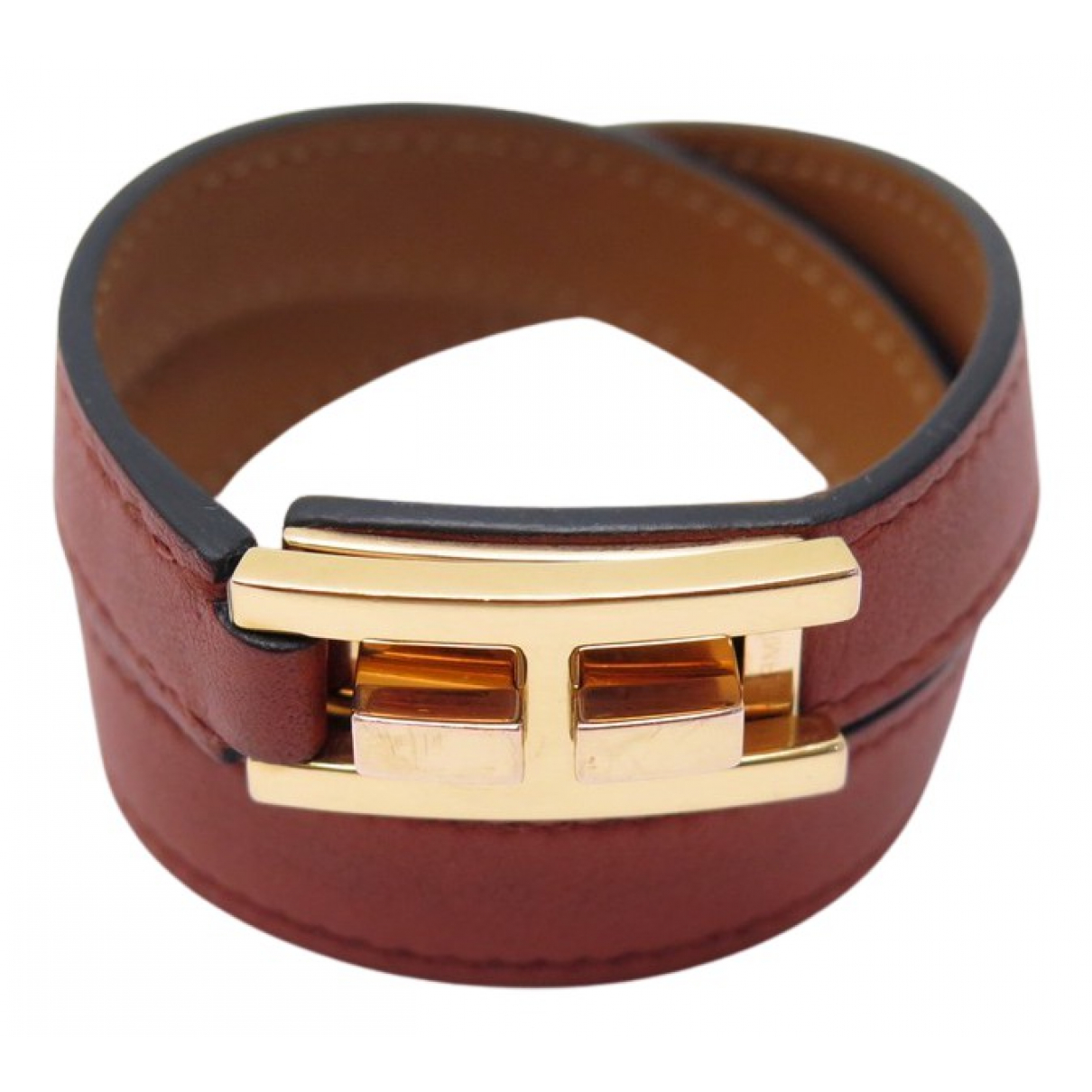 Hermès Drag Double Tour Brown Leather bracelet for Women N