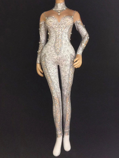 Milanoo Jazz Dance Costume Long Sleeve Jumpsuits Women Sexy Nightclub Wear Halloween