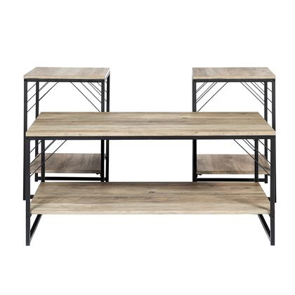 GAFTRY3PGW 3-Piece Table Set in Industrial Metal Accent in Grey