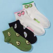 4 pares calcetines con patron de fruta