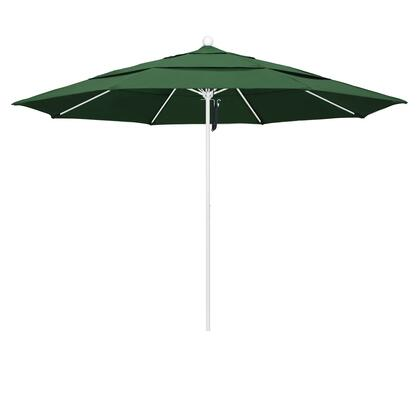 ALTO118170-F08-DWV 11' Venture Series Commercial Patio Umbrella With Matted White Aluminum Pole Fiberglass Ribs Pulley Lift With Olefin Hunter Green