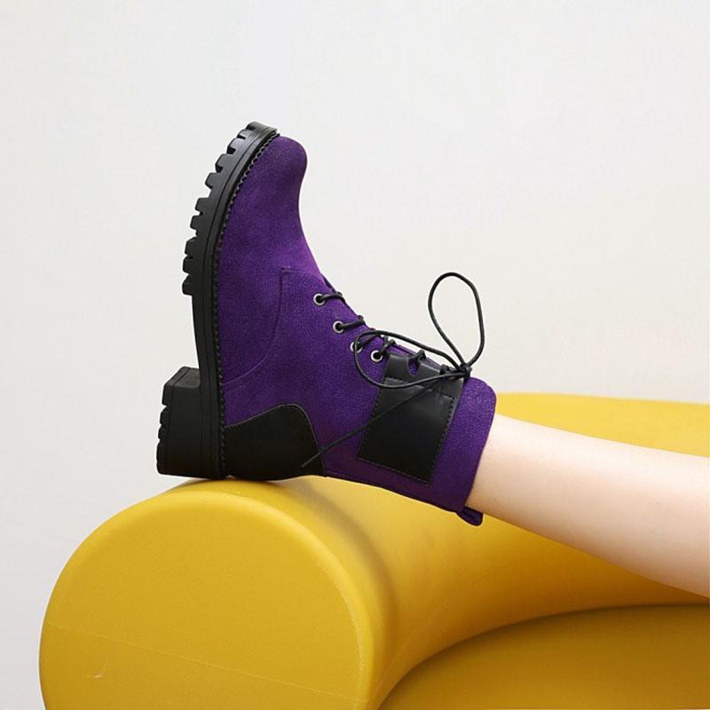 Ericdress Block Heel Round Toe Patchwork Cotton Boots