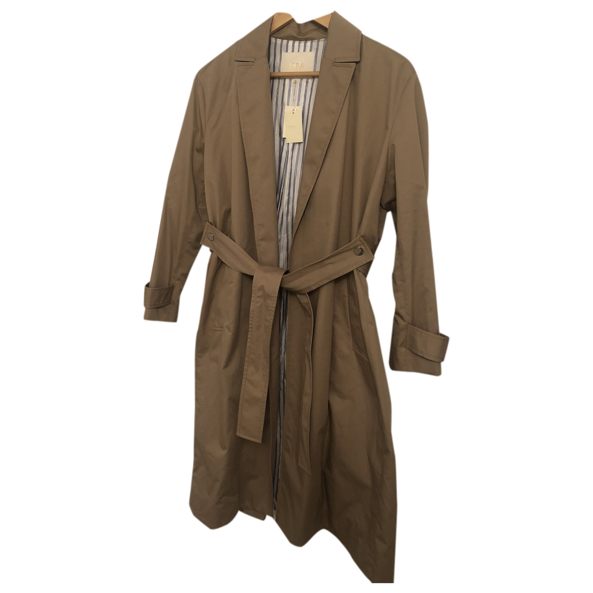 Maje \N Beige Cotton Trench coat for Women 36 FR